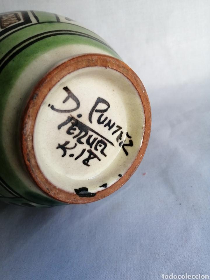 Antigüedades: Bonita jarra jarrón de ceramica antigua punter Teruel firmado - Foto 6 - 100594996