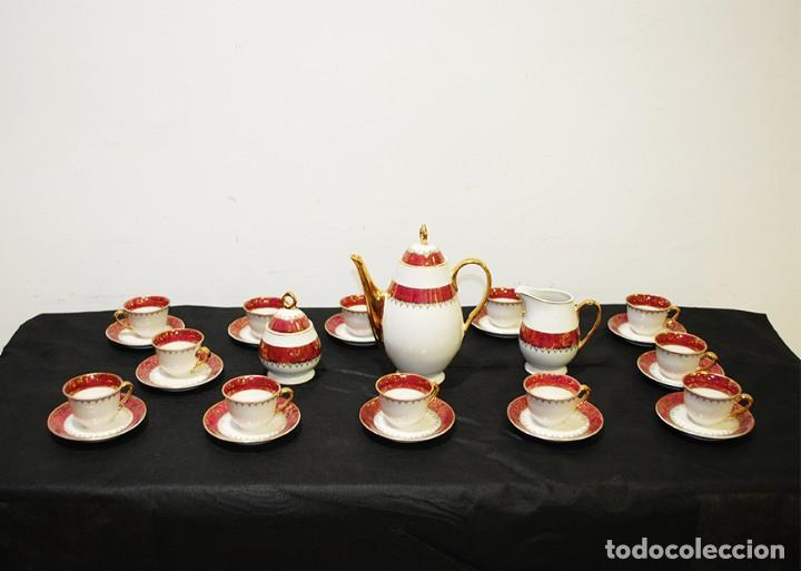 JUEGO DE CAFÉ ANTIGUO PORCELANA LIMOGES (Antigüedades - Porcelana y Cerámica - Francesa - Limoges)