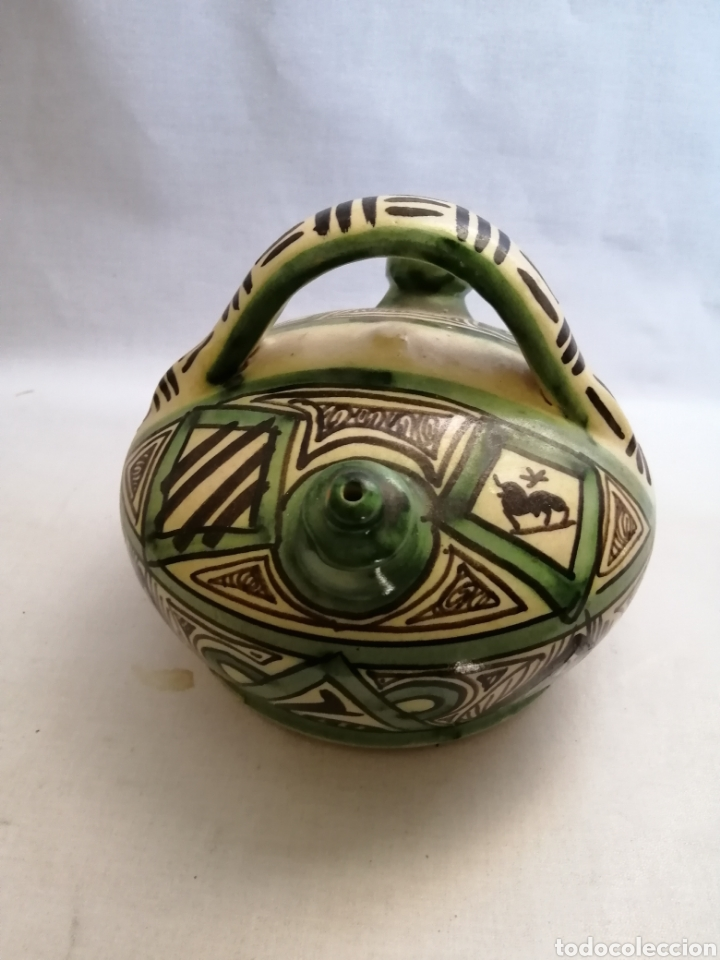 Antigüedades: Bonito Botijo de ceramica antigua domingo punter Teruel firmado - Foto 2 - 218773631