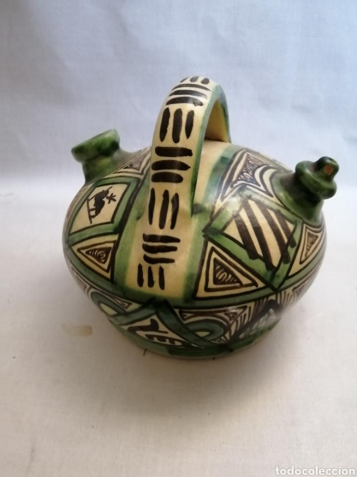 Antigüedades: Bonito Botijo de ceramica antigua domingo punter Teruel firmado - Foto 3 - 218773631