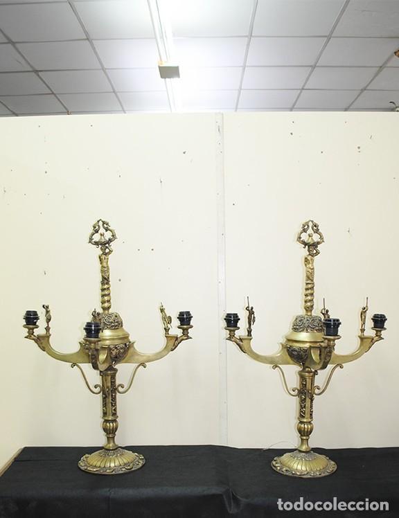 CANDELABROS ANTIGUOS DE BRONCE DORADO RENACIMIENTO (Antigüedades - Iluminación - Candelabros Antiguos)