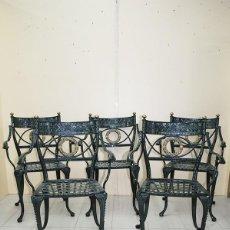 Antiquités: SILLAS ANTIGUAS DE HIERRO FUNDIDO ESMALTADO EN COLOR VERDE. Lote 218779102