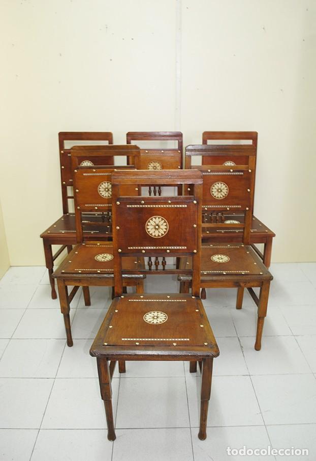 JUEGO DE 6 SILLAS ANTIGUAS ESTILO MODERNISTA (Antigüedades - Muebles Antiguos - Sillas Antiguas)