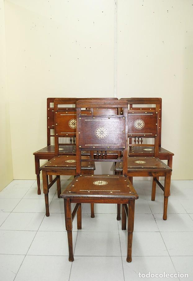 Antigüedades: JUEGO DE 6 SILLAS ANTIGUAS ESTILO MODERNISTA - Foto 2 - 218780613