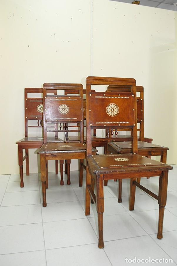 Antigüedades: JUEGO DE 6 SILLAS ANTIGUAS ESTILO MODERNISTA - Foto 3 - 218780613