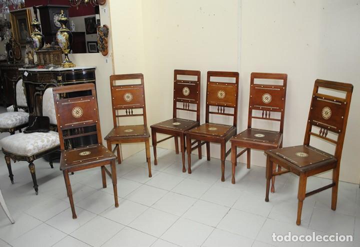 Antigüedades: JUEGO DE 6 SILLAS ANTIGUAS ESTILO MODERNISTA - Foto 5 - 218780613