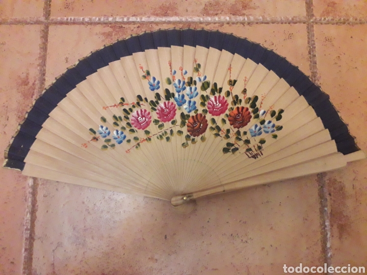 ABANICO PINTADO A MANO (Antigüedades - Moda - Abanicos Antiguos)