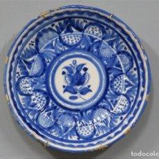 Antigüedades: ANTIGUO PLATO DE CERAMICA. GALLONADO. MANISES. SIGLO XIX. Lote 218931316