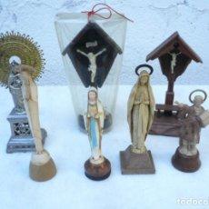 Antigüedades: LOTE SOUVENIR 7 IMÁGENES:2 VIRGENES LOURDES,1 EL PILAR,1 FÁTIMA,2 CRISTOS CAPILLA Y 1 SAN PANCRACIO. Lote 218963266