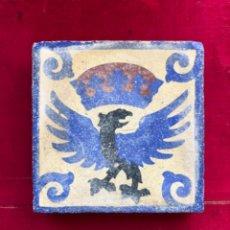 Antigüedades: ANTIGUO AZULEJO U OMBRILLA REPRESENTADO AGUILA CORONADA. S.XIX.. Lote 218986157