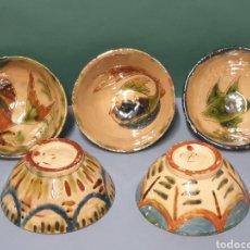 Antigüedades: LOTE COLECCIÓN DE 5 CUENCOS CERÁMICA POPULAR VIDRIADA LA BISBAL FIRMA. Lote 219018783