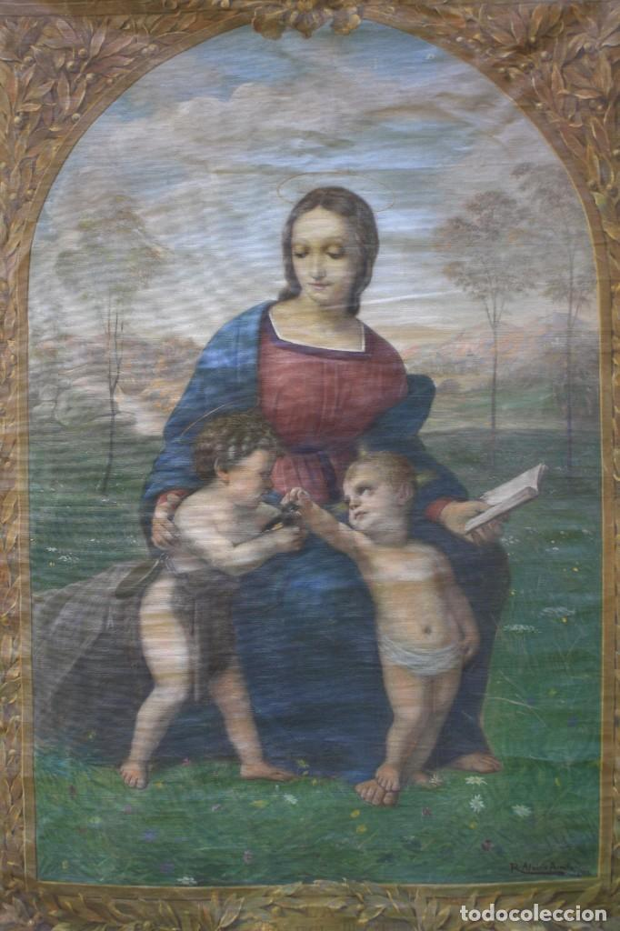 Antigüedades: Ramon Alsina Amils, tapiz pintado, 1914, escena religiosa, firmado y fechado. 203x134cm - Foto 2 - 219056945