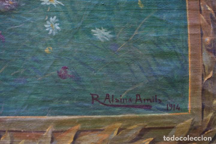 Antigüedades: Ramon Alsina Amils, tapiz pintado, 1914, escena religiosa, firmado y fechado. 203x134cm - Foto 3 - 219056945