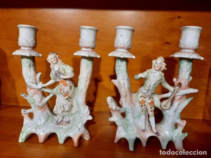 ANTIGUOS CANDELABROS MODERNISTAS, ART NOUVEAU (Antigüedades - Iluminación - Candelabros Antiguos)