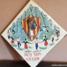 Antigüedades: AZULEJO-BALDOSA / DÉU VOS GUARD - VIRGEN DE MONTSERRAT / LA GLORIETA-ONDA / MADE IN SPAIN.. Lote 219086115