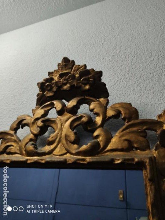 Antigüedades: ESPEJO CORNUCOPIA, MADERA TALLADA A MANO Y PAN DE ORO ESTILO BARROCO SIGLO XIX, TAMAÑO GRANDE. - Foto 3 - 219098446