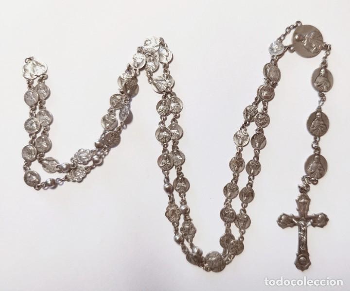 Antigüedades: ROSARIO CON MEDALLAS EN FORMA DE CUENTAS. PLATA. ESPAÑA. PRINC. S. XX - Foto 7 - 219125965