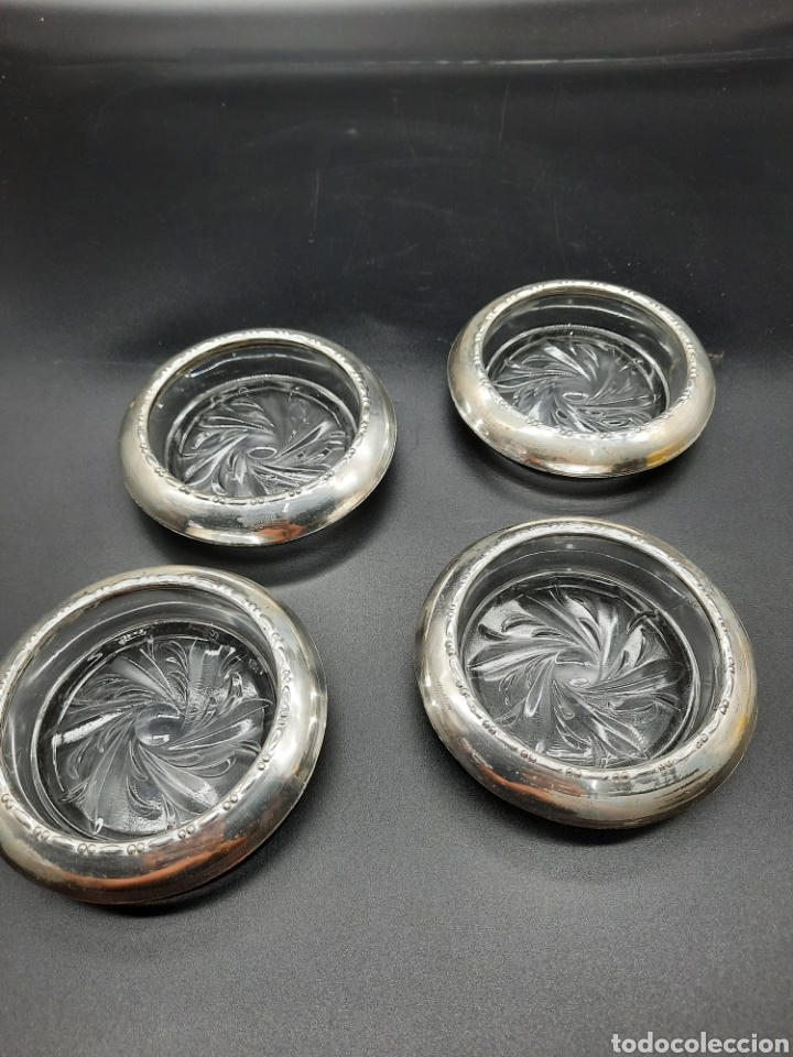 4 POSAVASOS ANTIGUOS DE PLATA ESTERLINA (Antigüedades - Platería - Plata de Ley Antigua)