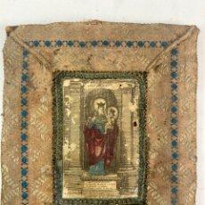 Antigüedades: GRABADO COLOREADO DE LA VIRGEN EN MARCO DE TELA. FINALES S.XVII-PRINCIPIOS S.XVIII.. Lote 219144770