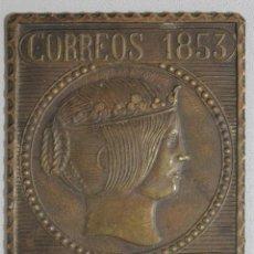 Antigüedades: PLANCHA SELLO DE CORREOS EN BRONCE. Lote 219161196