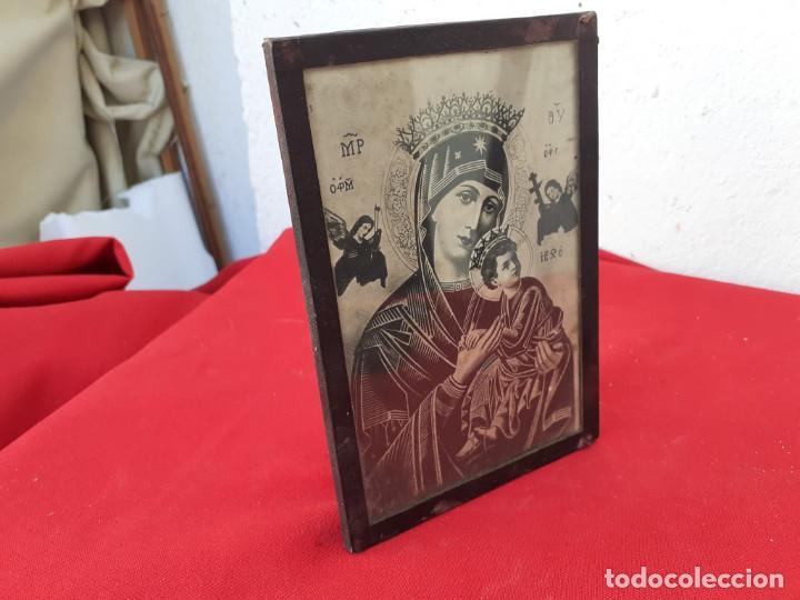 CUADRO CON LAMINA RELIGIOSA (Antigüedades - Hogar y Decoración - Marcos Antiguos)