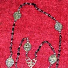 Antigüedades: ROSARIO. DE LOS 7 DOLORES DE MARÍA. PLATA. MADERA. ESPAÑA. SIGLO XVIII. Lote 219184538