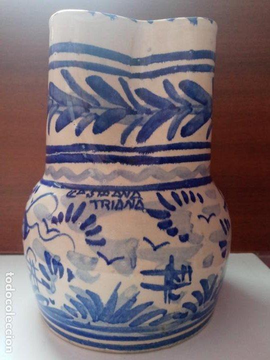 Antigüedades: Antiguo jarron creamica santa Ana triana- animales toro pintado a mano - Foto 2 - 219199245