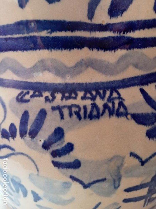 Antigüedades: Antiguo jarron creamica santa Ana triana- animales toro pintado a mano - Foto 5 - 219199245