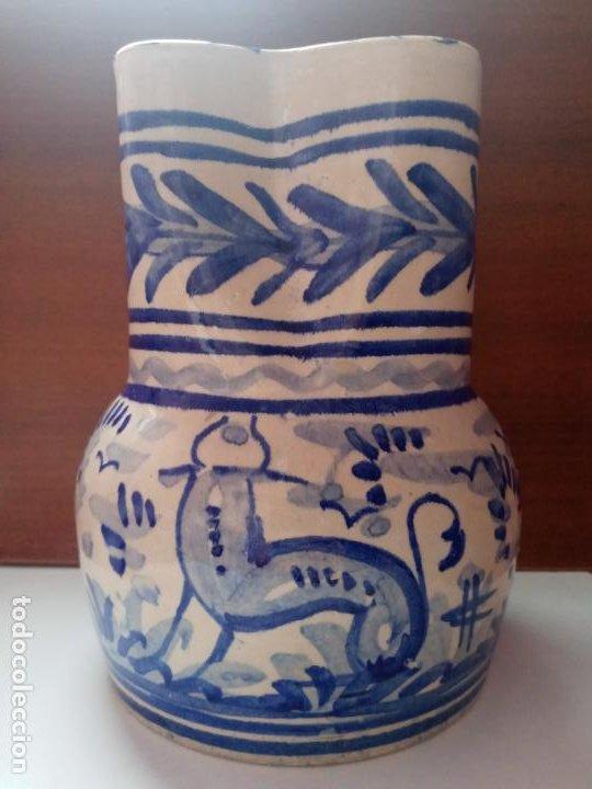 ANTIGUO JARRON CREAMICA SANTA ANA TRIANA- ANIMALES TORO PINTADO A MANO (Antigüedades - Porcelanas y Cerámicas - Triana)