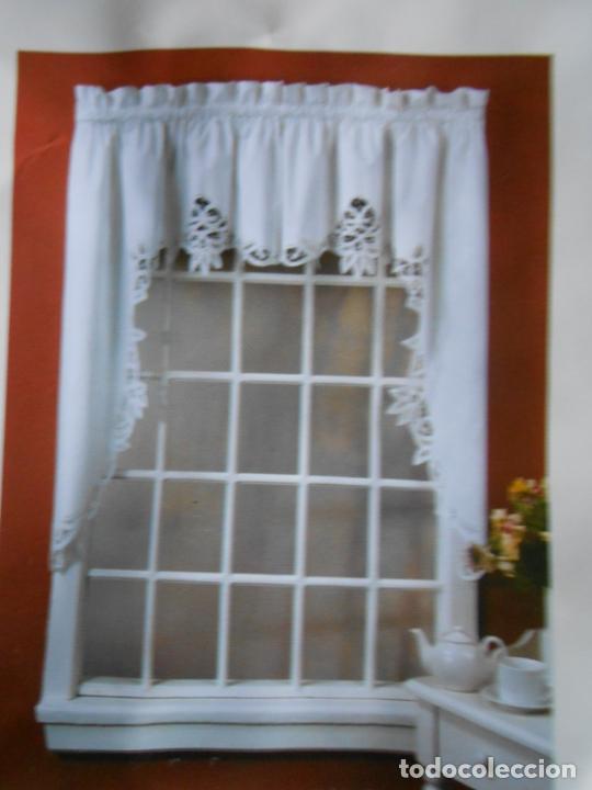 Antigüedades: Encajes de Brujas, juego 4 cortinas Blanco. Años 80. 100% algodon. Nuevo - Foto 2 - 219203933