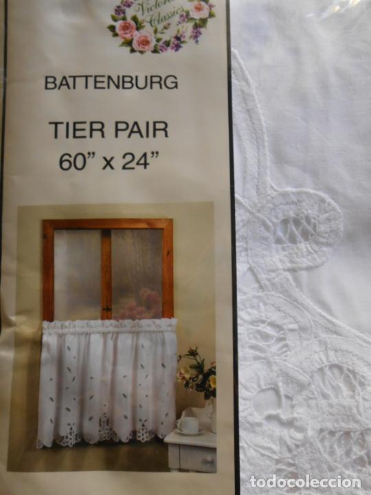 Antigüedades: Encajes de Brujas, juego 4 cortinas Blanco. Años 80. 100% algodon. Nuevo - Foto 3 - 219203933