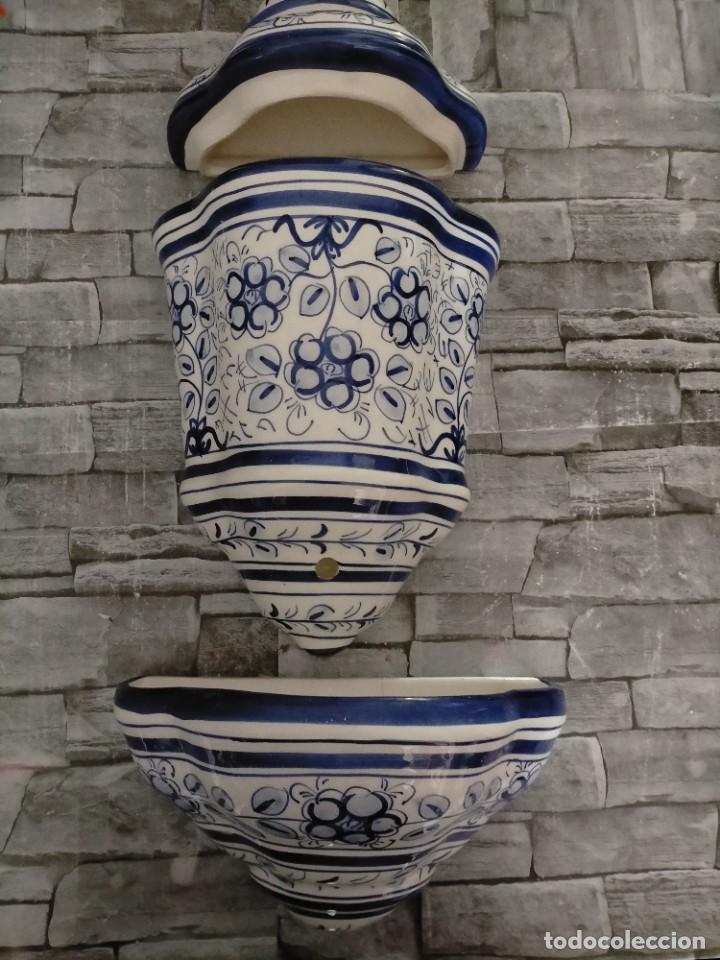 AGUAMANIL DE CERAMICA GRAN TAMAÑO MOTIVOS FLOREALES (Antigüedades - Porcelanas y Cerámicas - Otras)
