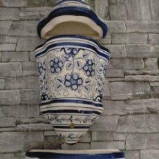 Antigüedades: AGUAMANIL DE CERAMICA GRAN TAMAÑO MOTIVOS FLOREALES. Lote 219218103