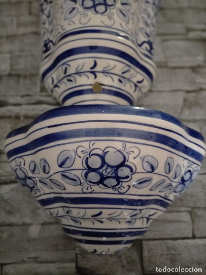 Antigüedades: AGUAMANIL DE CERAMICA GRAN TAMAÑO MOTIVOS FLOREALES - Foto 2 - 219218103