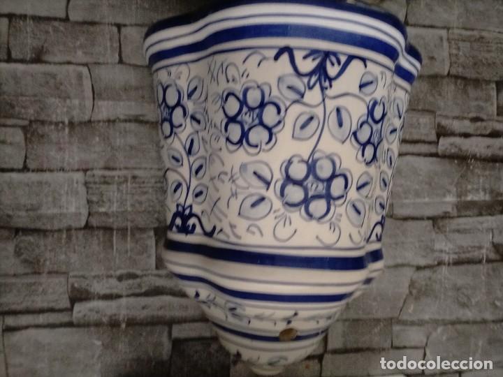 Antigüedades: AGUAMANIL DE CERAMICA GRAN TAMAÑO MOTIVOS FLOREALES - Foto 3 - 219218103