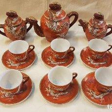 Antigüedades: JUEGO CAFE ORIENTAL ,6 TAZAS,AZUCARERA,CAFETERA Y LECHERA. Lote 219275283