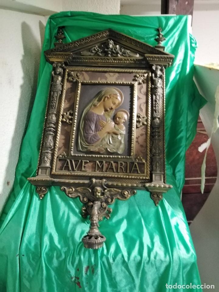 MARAVILLOSA METOPA DE BIENVENIDA MODERNISTA, (DE HACE UNOS CIENTO VEINTE AÑOS) DE METAL POR SÓLO (Antigüedades - Religiosas - Ornamentos Antiguos)