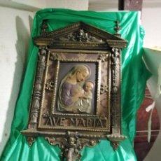 Antigüedades: MARAVILLOSA METOPA DE BIENVENIDA MODERNISTA, (DE HACE UNOS CIENTO VEINTE AÑOS) DE METAL POR SÓLO. Lote 219280395