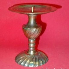 Antigüedades: PORTAVELAS BRONCE TORNEADO, SIGLO XIX. VELERO, CANDELABRO. Lote 219284061