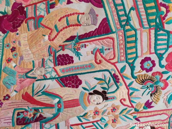 Antigüedades: IMPRESIONANTE MANTÓN DE MANILA ANTIGUO DEL XIX - Foto 22 - 219310045