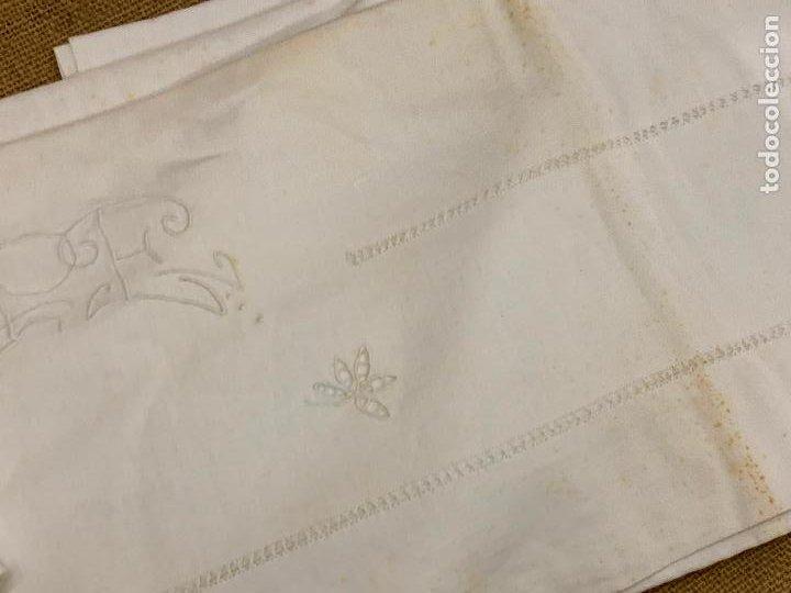 Antigüedades: Preciosa sabana antigua de algodon, con una funda de almohada. - Foto 3 - 219365793