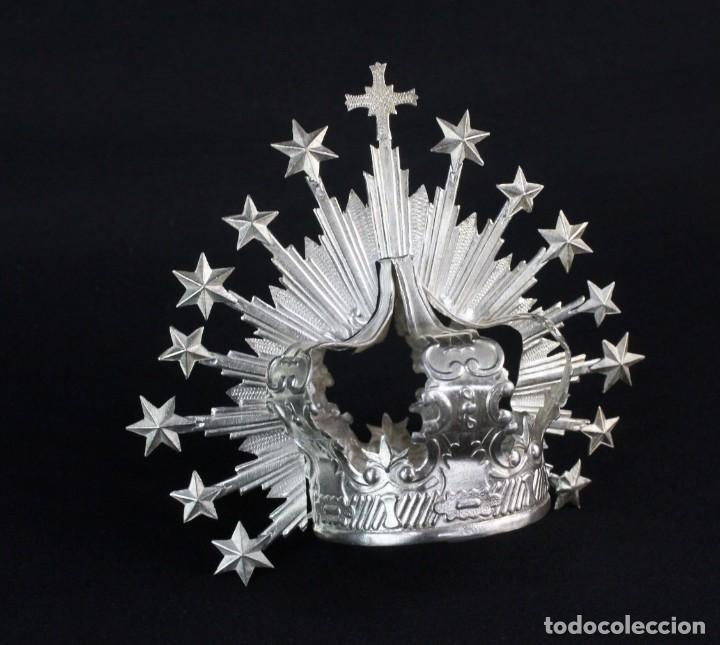 Antigüedades: Corona imperial para imagen. Plata. mediados SXX Sevilla. 40gr. Sin usar.5 cm diámetro aro - Foto 2 - 219381091