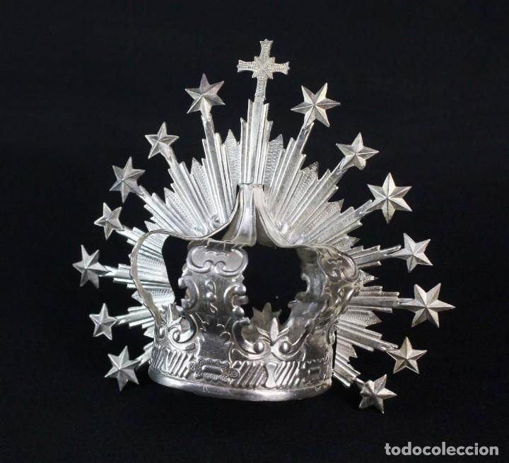 Antigüedades: Corona imperial para imagen. Plata. mediados SXX Sevilla. 40gr. Sin usar.5 cm diámetro aro - Foto 3 - 219381091