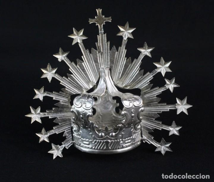 Antigüedades: Corona imperial para imagen. Plata. mediados SXX Sevilla. 40gr. Sin usar.5 cm diámetro aro - Foto 6 - 219381091