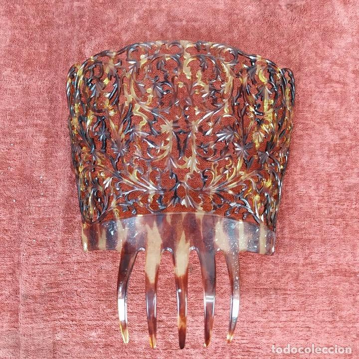 Antigüedades: PEINETA PARA DAMA. CELULOIDE TALLADO A MANO. ESPAÑA. SIGLO XIX-XX - Foto 5 - 219385291