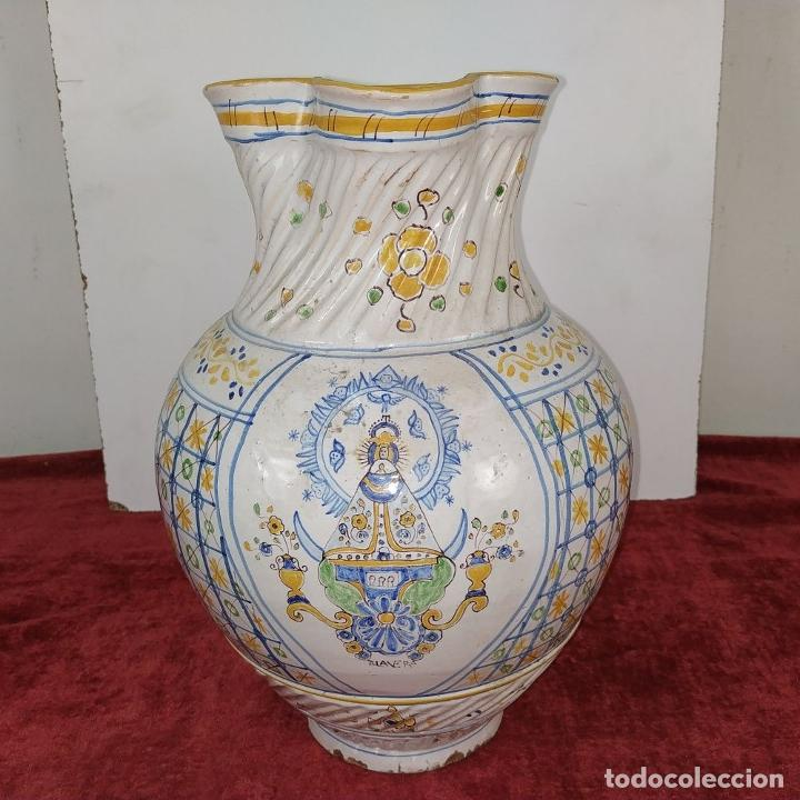 Antigüedades: GRAN JARRA FIRMADA NIVEIRO. CERÁMICA ESMALTADA. TALAVERA. ESPAÑA. SIGLO XX - Foto 2 - 219397761