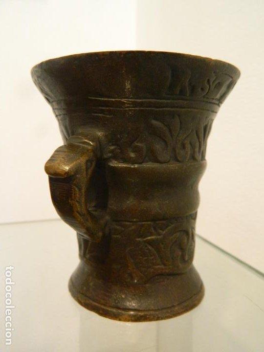 Antigüedades: pequeño mortero, almirez, de farmacia, fechado 1600 - Foto 2 - 219404453