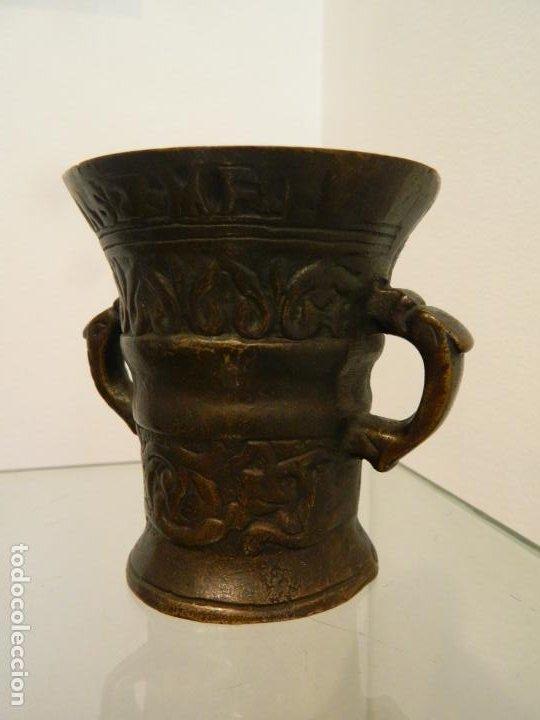 PEQUEÑO MORTERO, ALMIREZ, DE FARMACIA, FECHADO 1600 (Antigüedades - Técnicas - Rústicas - Utensilios del Hogar)