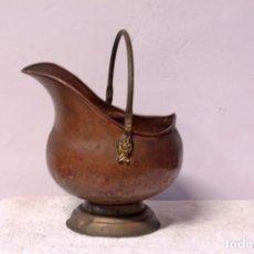 Antigüedades: RECOGE CENIZAS EN COBRE Y BRONCE. 23CM DE ALTURA Y 30CM APROX HASTA EL ASA. Lote 219408706