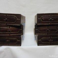 Antigüedades: MUY ANTIGUOS CAJONES DE MUEBLE BARGUEÑO O PAPELERA EN MADERA DE NOGAL 21,5X8,7 ALTO. FONDO 37 APROX. Lote 219446546